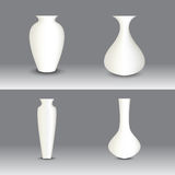 White vase set, vector object Royalty Free Stock Image