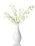 White vase with spring lilies is isolated on white Royalty Free Stock Image