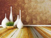 The white vases on the floor Stock Photos