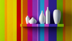 White vases on the shelf Royalty Free Stock Photos