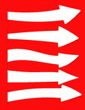 White vector arrows banner, directional sign inserted into red cut paper Stock Photos