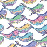 White vector background with whales Royalty Free Stock Images