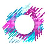 Circle label with bright abstract shapes Royalty Free Stock Photography