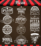 White vector Collection of Pizza Labels and Badges in Vintage Style. On blackboard Stock Photo