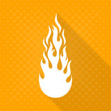 White vector fire flame icon. Long shadow design Stock Images