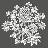 White Vector Lace. Clip Art. Gray  Background Royalty Free Stock Photography