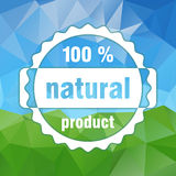 White vector 100 % natural product stamp. On country landscape triangular background - green and sky Royalty Free Stock Photo