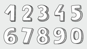 White vector numbers isolated on grey background. Hand drawn white vector numbers isolated on grey background Royalty Free Illustration