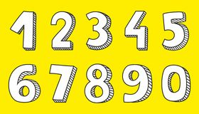 White vector numbers isolated on yellow background. Hand drawn white vector numbers isolated on yellow background Stock Illustration