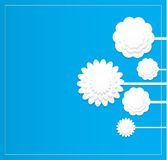 White vector paper craft flower on blue background Stock Image