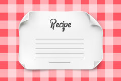 White vector paper sheet with curved corners for Recipe Template. Paper note Recipe. White vector paper sheet with curved corners for Recipe Template. Paper Royalty Free Stock Photography