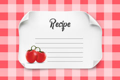 White vector paper sheet with curved corners for Recipe Template. Paper note recipe with fresh tomatoes. Royalty Free Stock Photo