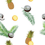White vector pineapple seamless  pattern. Pineapple, coconut, palm leaves. Royalty Free Stock Images