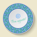 White vector plate with floral ornament. Plate template with clo Royalty Free Stock Photos