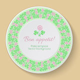 White vector plate with floral ornament. Plate template with clo Stock Photos