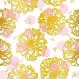 White pattern with golden flower. vector illustration