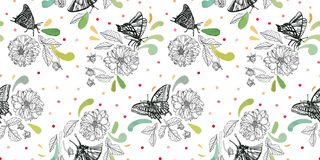 White pattern with butterfly and florals. royalty free illustration