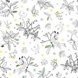 White pattern with rose plant and animals. stock illustration