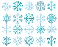 White vector snowflakes with shadows. For Christmas and winter decoration and backgrounds Royalty Free Stock Photos