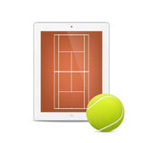 White vector tablet with tennis ball and field on Royalty Free Stock Image