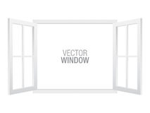 White vector window template. White vector window template, isolated on background. Two-sided opened window mockup vector illustration