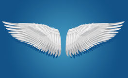 White vector wings. Vector wings on blue background, eps 8. Objects are layered separately Royalty Free Stock Images