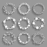 White vector wreaths with shadows Royalty Free Stock Photos