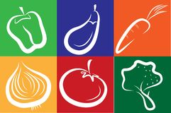 White vegetable icons on colorful background Stock Photos