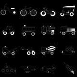 White vehicle icons on black Royalty Free Stock Photo