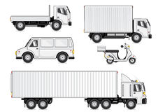 White vehicles. For business isolated on white background Royalty Free Stock Photos