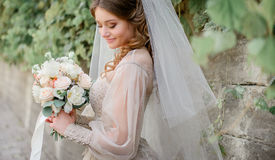 White veil envelopes beautiful old-fashioned bride Royalty Free Stock Photography