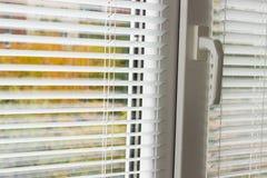 White Venetian blinds on a modern plastic window. Fragment of the modern plastic window with white Venetian blinds and blurred view of the autumn trees across royalty free stock photo
