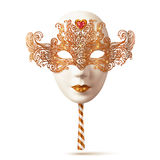 White Venetian carnival mask with golden glitter decoration. White full face Venetian carnival mask with golden glitter decoration stock illustration