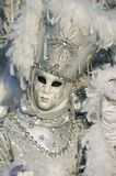 White venetian mask at Annecy's carnival. Stock Image