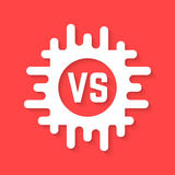 White versus icon with shadow. Concept of confrontation, retro mark, together, standoff, final fighting, assault. isolated on red background. flat style trend Stock Images