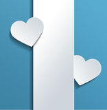 White Vertical Banner with Hearts Against Sky Blue Stock Photography