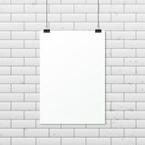 White vertical poster A4 on a rope. Sheet of paper hangs on two black binder clips. Vector EPS10 illustration vector illustration