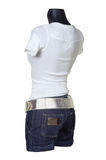 White vest and jeans shorts royalty free stock images
