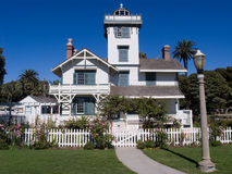 White Victorian Lighthouse. California Stick Style Victorian lighthouse built in 1874 in a beautiful park like setting Stock Images