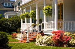White Victorian porch stock photography