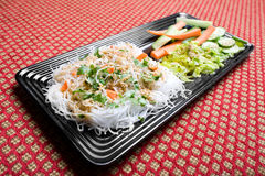 White Vietnamese Bun Noodles. With assorted vegetables Royalty Free Stock Image