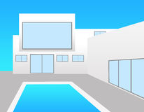 White villa. Posh white villa with swimming pool Royalty Free Stock Photography