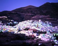 White village at dusk, Competa. Royalty Free Stock Image