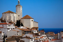White village houses church bell tower Royalty Free Stock Photography