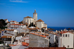 White village houses  and church bell tower Royalty Free Stock Photos