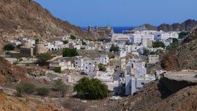 White village among mountains. Oman white village among mountains. Shot has been taken somewhere in Oman Stock Photos