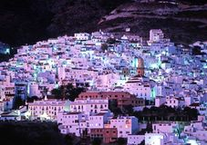 White village at night, Competa. Stock Photo