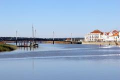 White village river bridge, Alcacer do Sal, Alentejo, Portugal Royalty Free Stock Images
