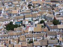 White Village Rooftops - Andalusia , Spain. It is the village of Zuheros . This picture is taken around 11 am Stock Photography