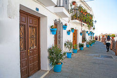 White village street in Andalusia, Spain. Stock Image